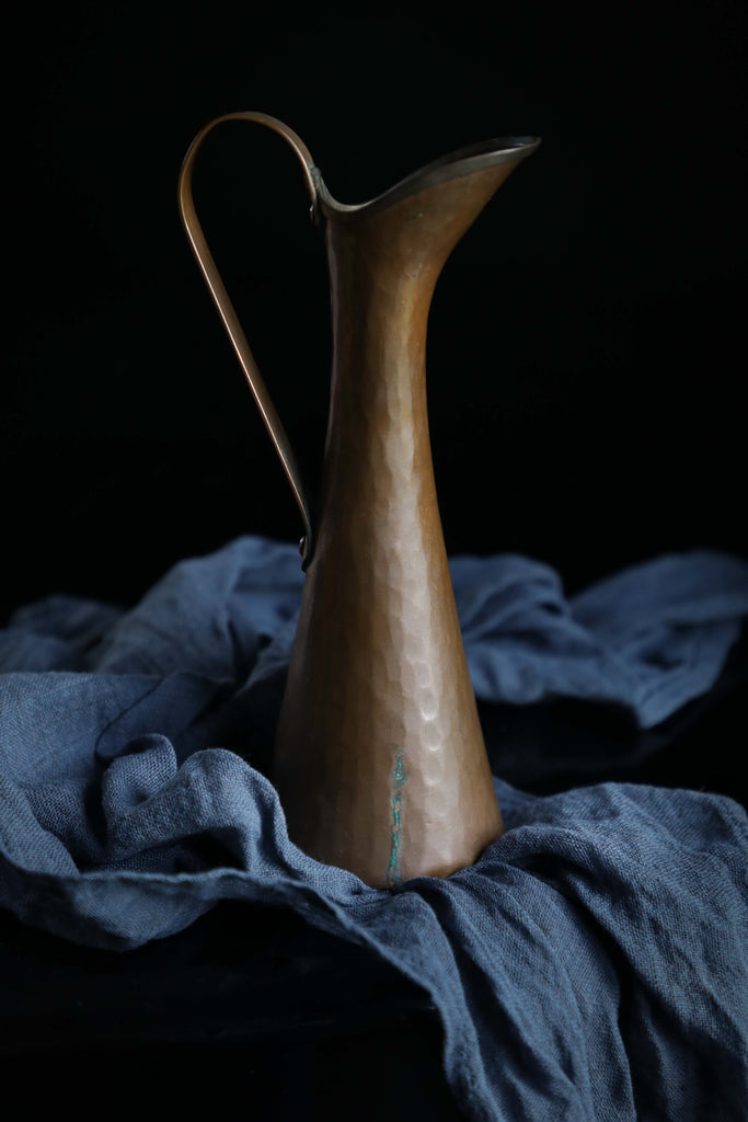 Flower pitcher, vintage copper, Natural Dyed Cotton napkin, indigo dyed