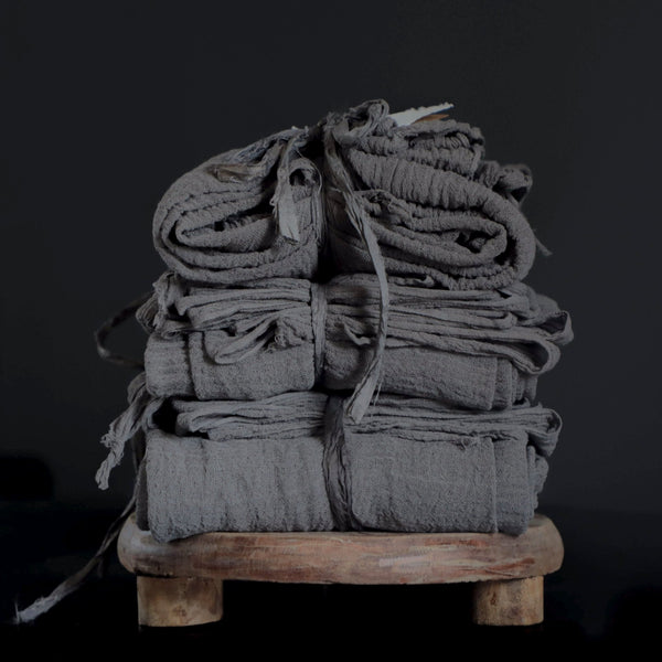Organic Handloom Medium Weave Table Runner {Dark Charcoal}