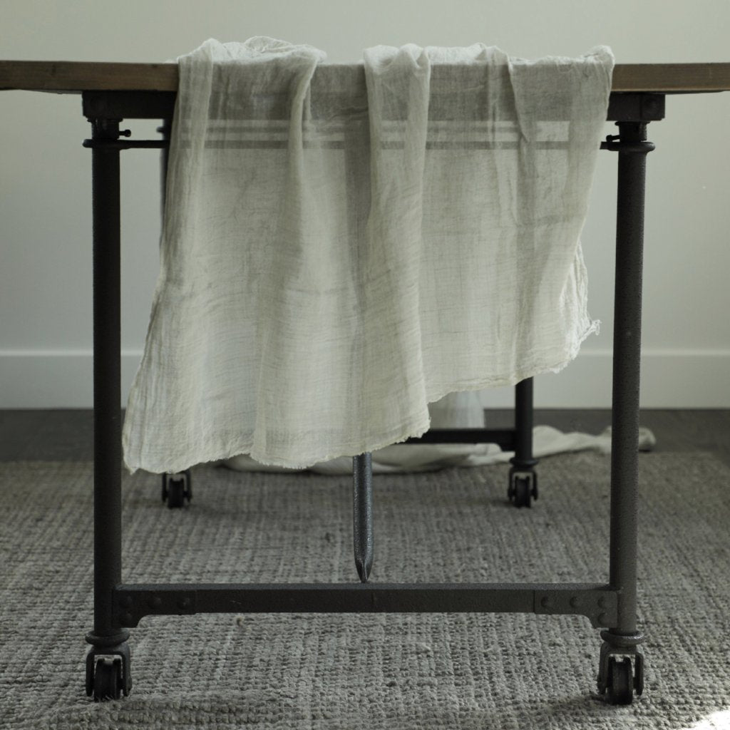 sustainable table linens, hand dyed table runner, silk and willow table runner, gray textiles