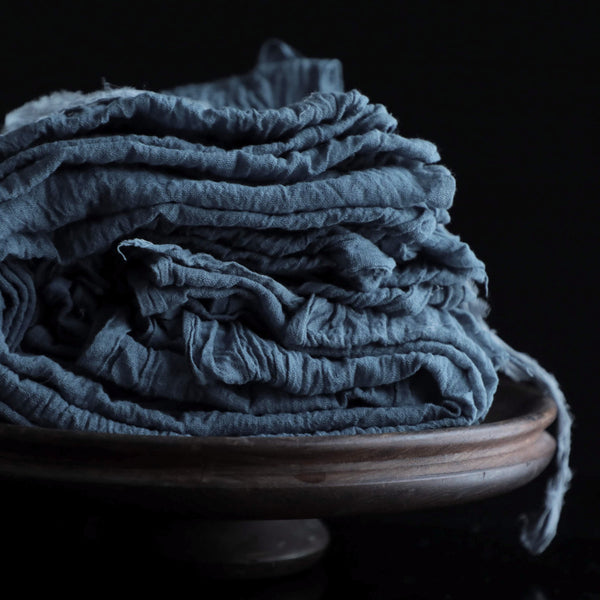 Plant Dyed Table Runner {DUSTY INDIGO tight weave}