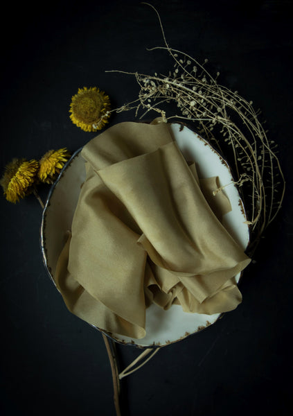 Silk & Willow bouquet silk ribbon. Plant dyed silk ribbon. rich gold color. silk ribbon for weddings