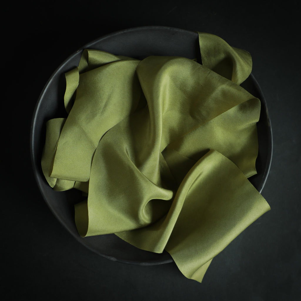 Lemongrass- Naturally dyed silk ribbon. Silk & Willow hand dyed