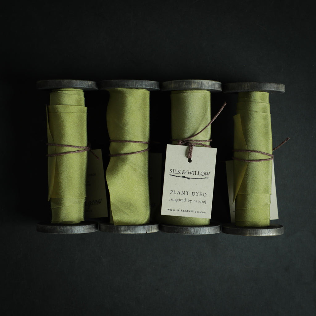Lemongrass- Naturally dyed silk ribbon. Silk & Willow hand dyed silk ribbon