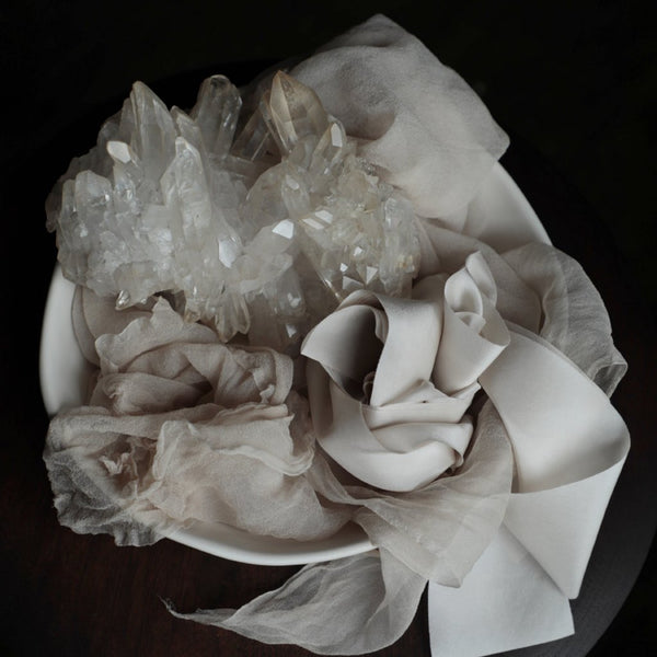 Silk & Willow bouquet silk ribbon. Plant dyed silk ribbon. crystals.