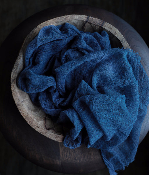 Plant Dyed Handloom Table Runner {DARK INDIGO medium weave}