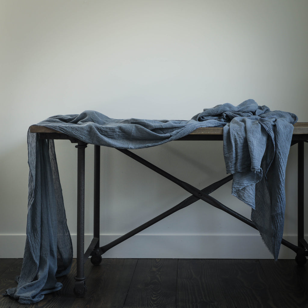indigo dyed table linens, silkandwillow, Silk & Willow, Plant dyed table linens, Table decor, home decor, event decor