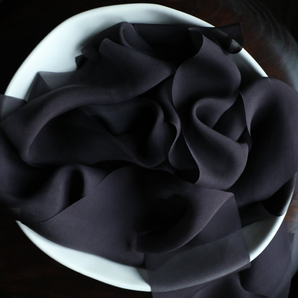black ribbon. Silk & Willow bouquet silk ribbon. Plant dyed silk ribbon. luxe wedding.