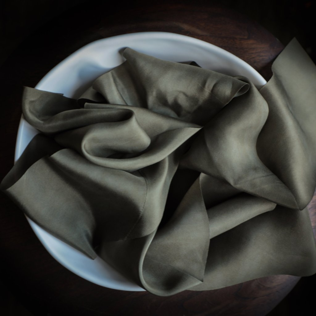 holiday gift wrapping, green ribbon. Silk & Willow bouquet silk ribbon. Plant dyed silk ribbon. luxe wedding.