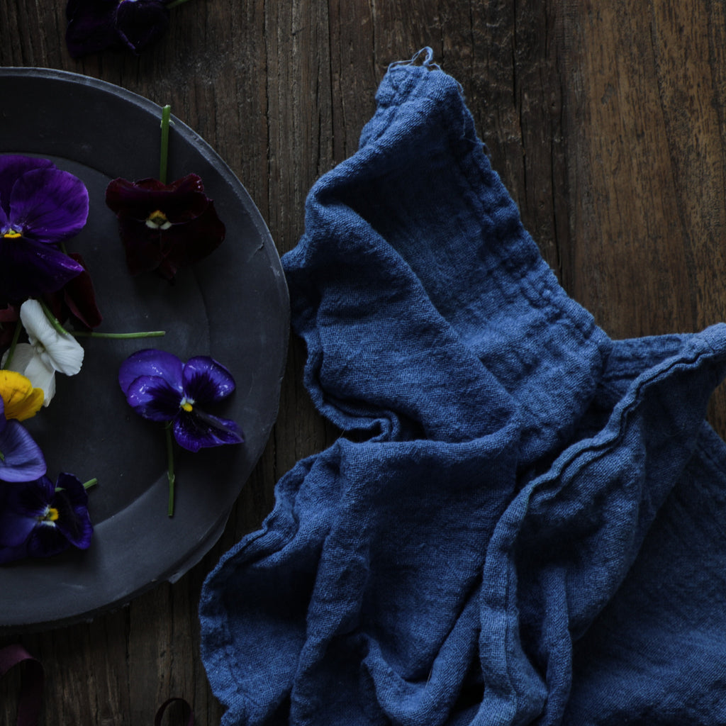 Silk & Willow. Plant Dyed Table Linens, organic cotton napkins, Indigo, Blue, Indigo dyed.
