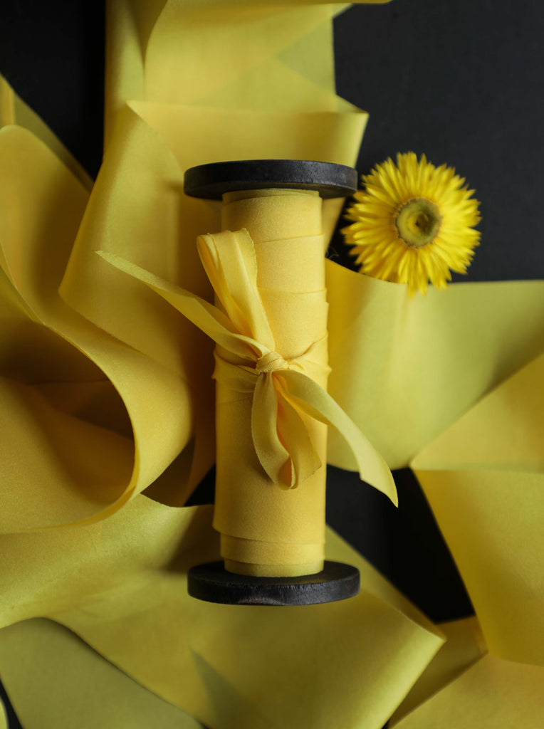 saffron dyed silk ribbon, silk and willow luxury silk ribbon