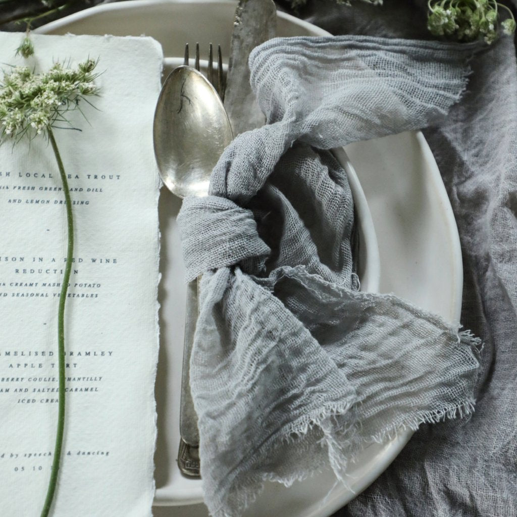 Seafoam Gray Napkins / Unfinished Edge {Medium Weave}
