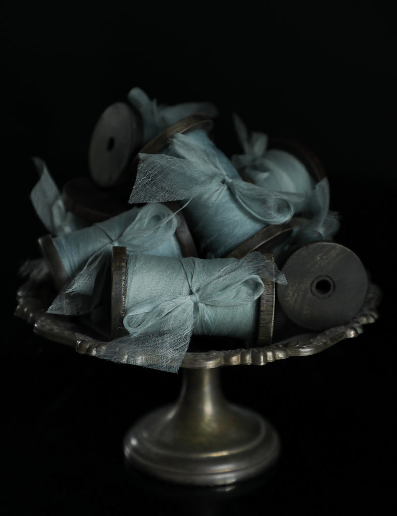 bouquet ribbon, silk ribbon, organic silk, peace silk, gossamer silk, sea glass, teal, indigo