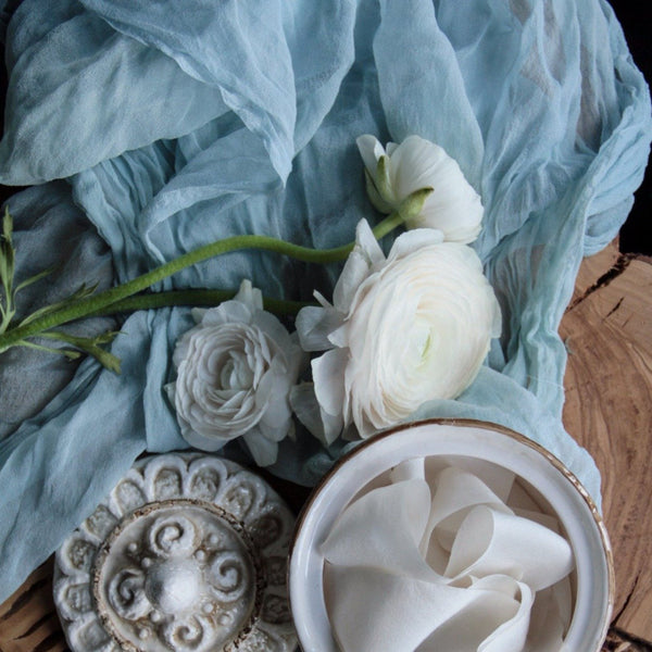 SILK SHEER FABRIC {Cinderella Blue}