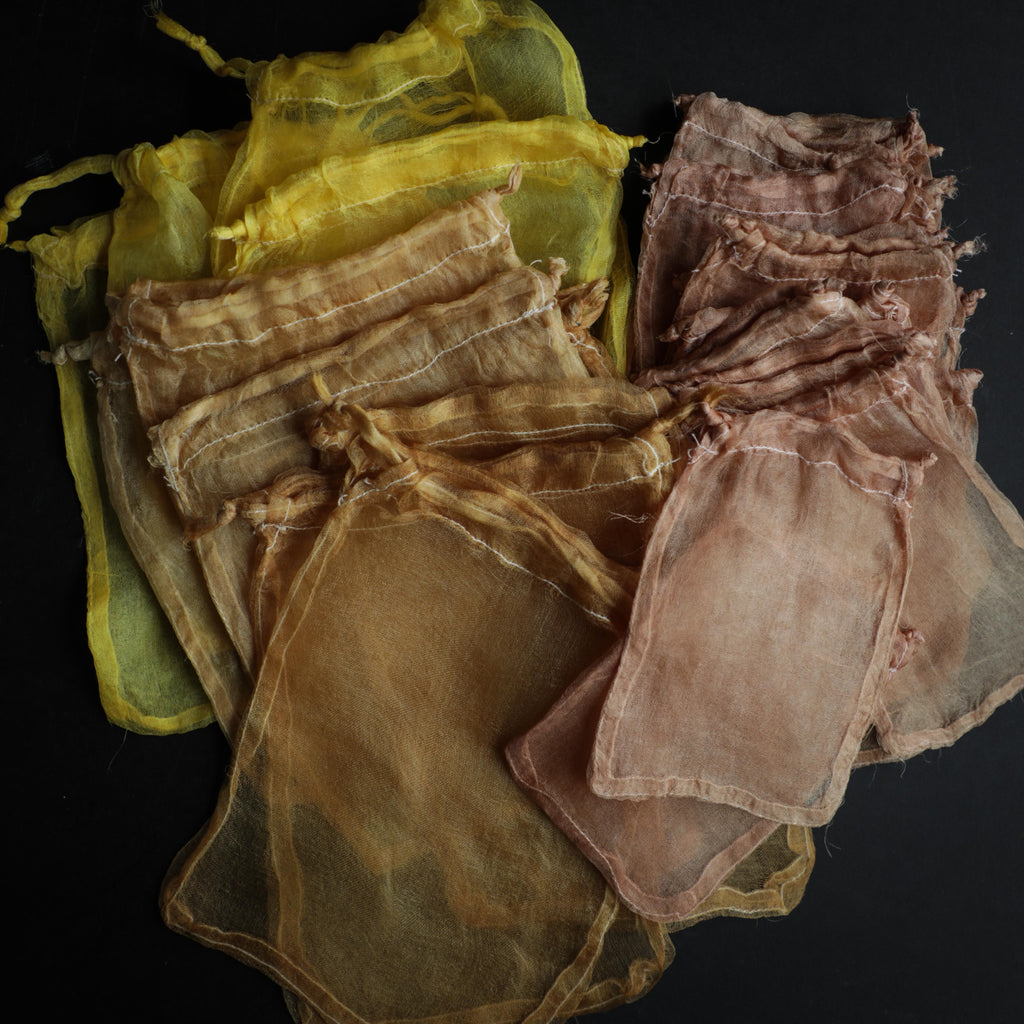 Plant Dyed 100% Silk Bags {Yellow, Orange, Coral}