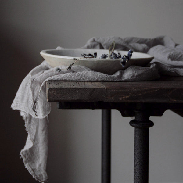 Organic Handloom Medium Weave Table Runner {Silver}