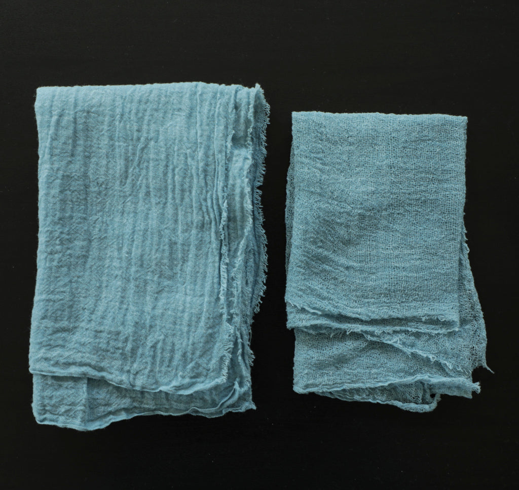 Sky Blue Napkins / Unfinished Edge {Tight Weave}