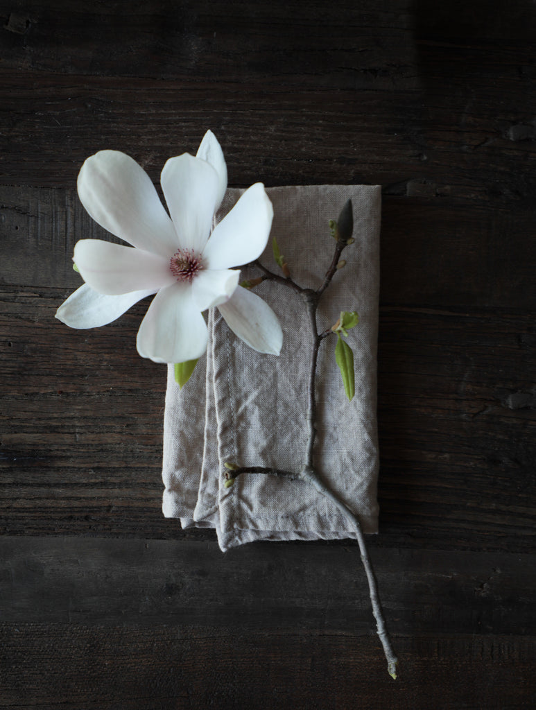 Natural Linen. Silk & Willow plant dyed table linens. Napkins, organic cotton napkins. natural cotton napkins. Table setting.