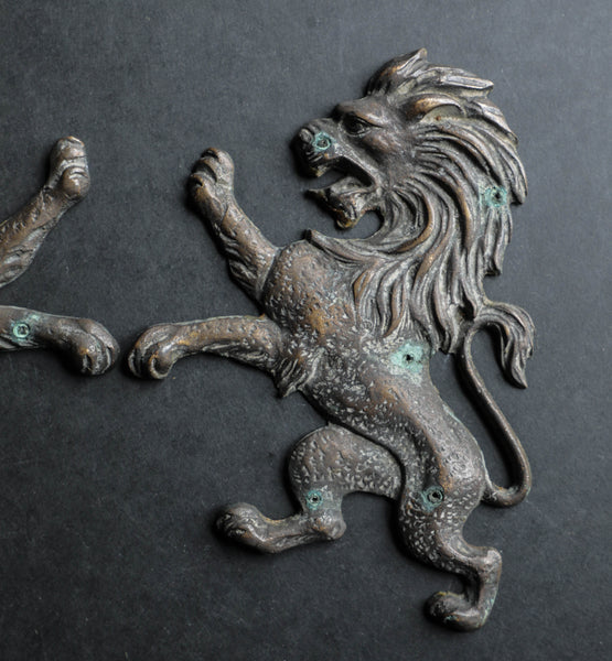 Set / Bronze Lion Wall Plaque