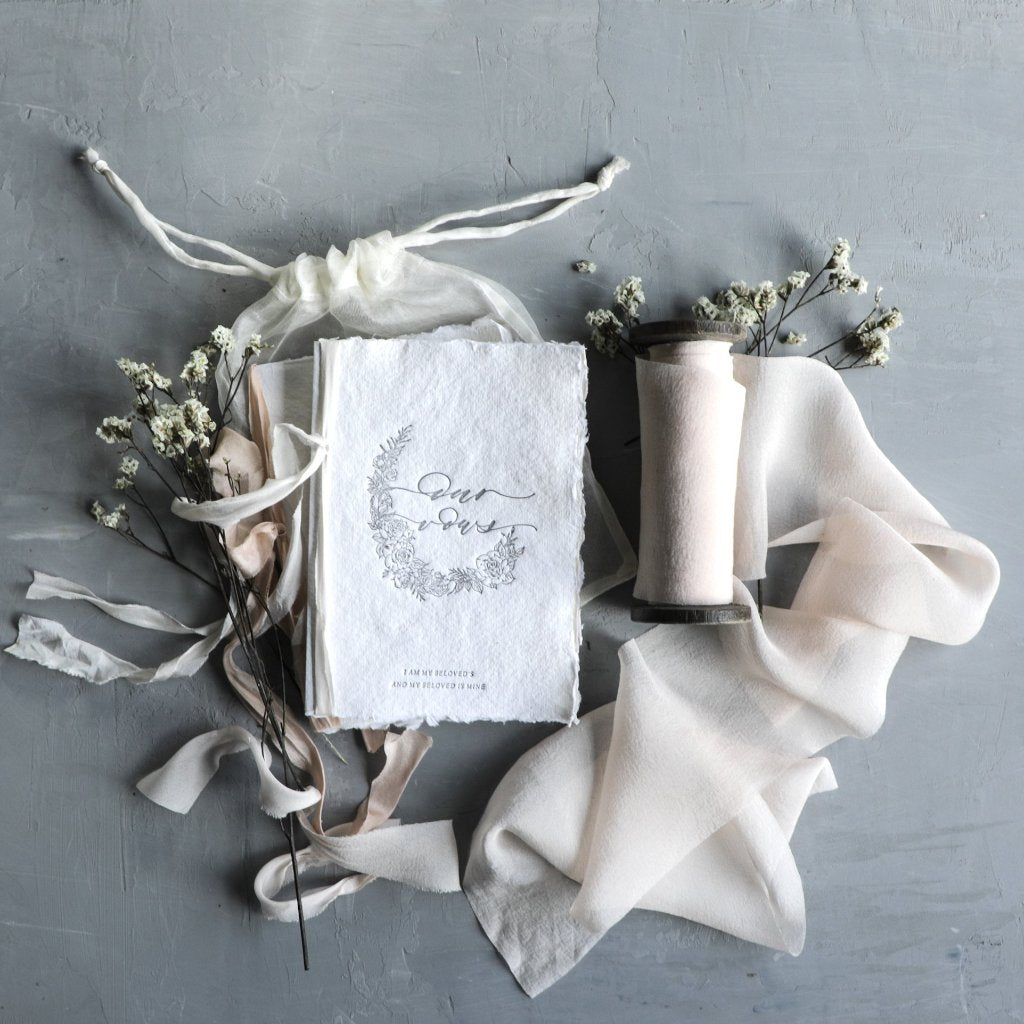 Silk & Willow. Handmade Paper. Wedding Vow Books. Silk Ribbon
