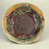 Serving Bowl - Floral Pattern Copper Red (b40zb-1)