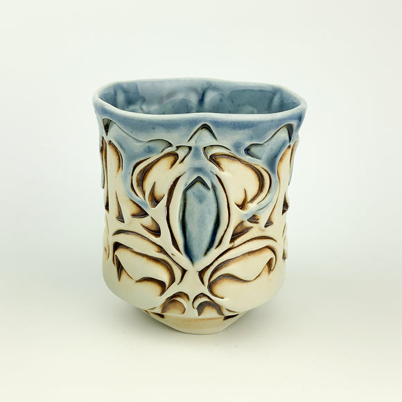 Cup - Nouveau Pattern Blue and Mahogany (c20bo-11)
