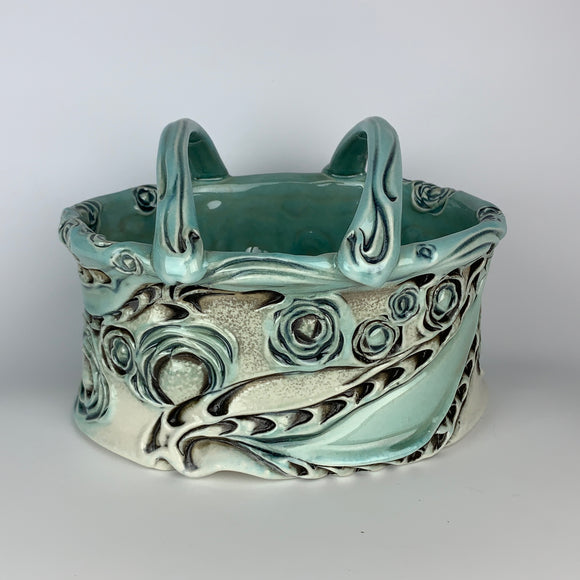 Flower Brick - Oval Floral Pattern Copper Blue Glaze