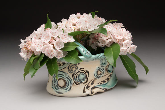Flower Brick - Oval Floral Pattern Copper Blue Glaze (fb40z-11)