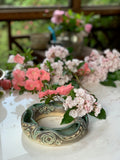 Flower Ring - Floral Pattern Copper Green Glaze (fr40sp-10)