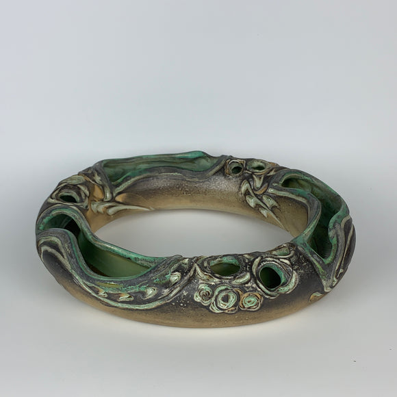 Flower Ring Oval - Floral Pattern Smoky Copper Green Glaze (fr40sp-3)