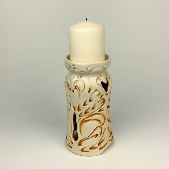 Candle Holder - Nouveau Pattern Ivory with Golden Rutile 6.5