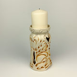 Candle Holder - Nouveau Pattern Ivory with Golden Rutile 6.5""