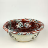 Serving Bowl - Nouveau Pattern Copper Red