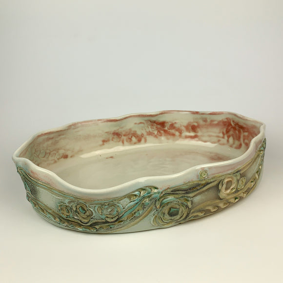 Oval Serving Dish (Shallow) -Floral Pattern Copper Green