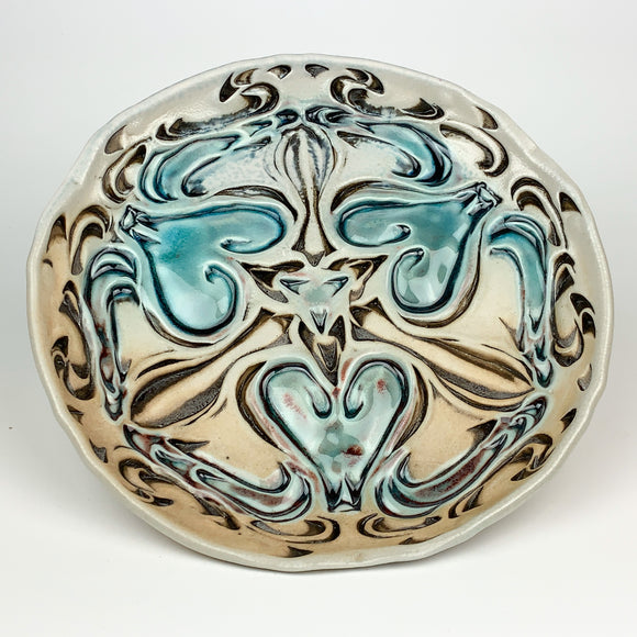 Plate - Nouveau Pattern Salad Size Copper Blue