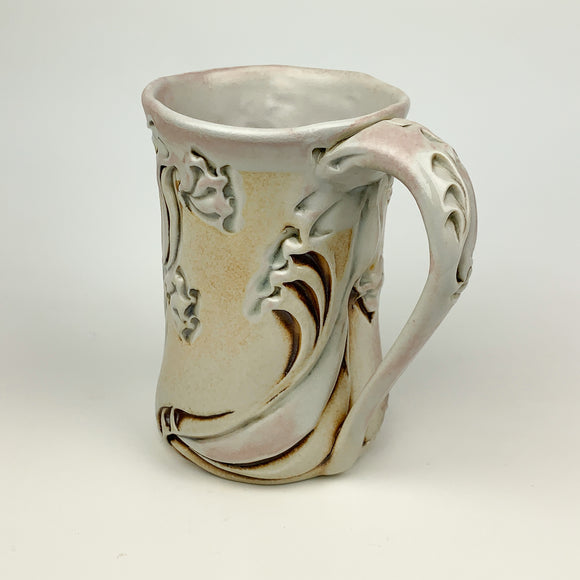 Mug - Dragon Flower Pattern Ivory with Mahogany Wash
