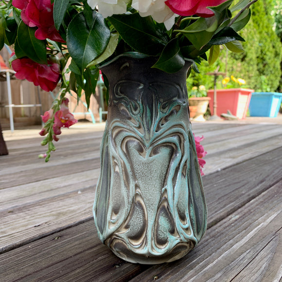 Vase - Nouveau Pattern Copper Green