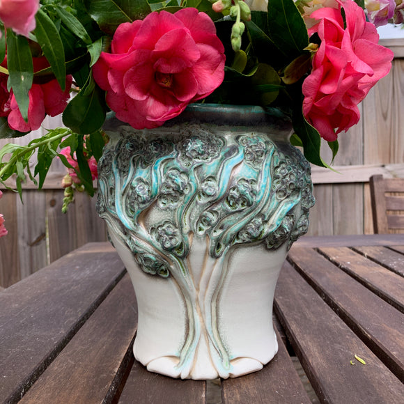 Vase Tall - PomPom Tree Pattern Copper Green