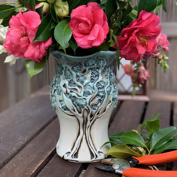 Vase - PomPom Tree Pattern Copper Blue 8