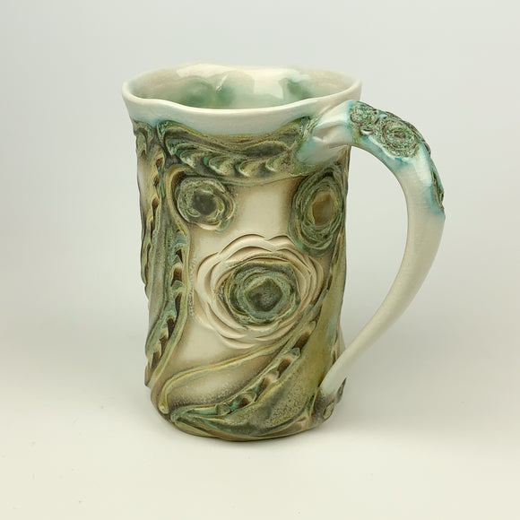Mug - Floral Pattern Copper Green (m40csp-1)