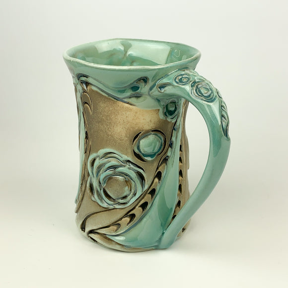 Mug - Floral Pattern Copper Blue