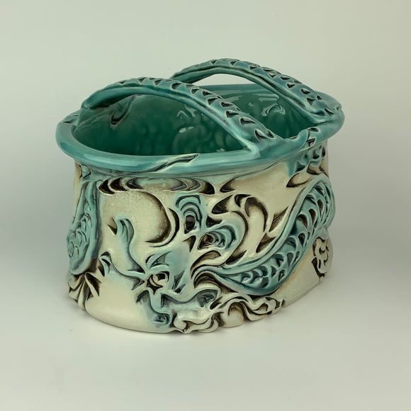 Flower Brick - Oval Dragon Pattern Copper Blue Glaze