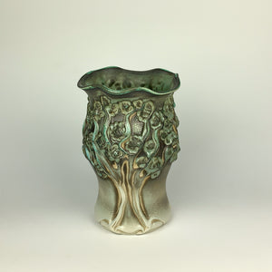 Vase - PomPom Tree Pattern Copper Green