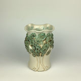 Vase - PomPom Tree Pattern Copper Green and Ivory