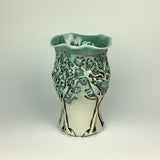 Vase - PomPom Tree Pattern Copper Blue 8""