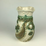 Vase - Floral Pattern Copper Green and Ivory