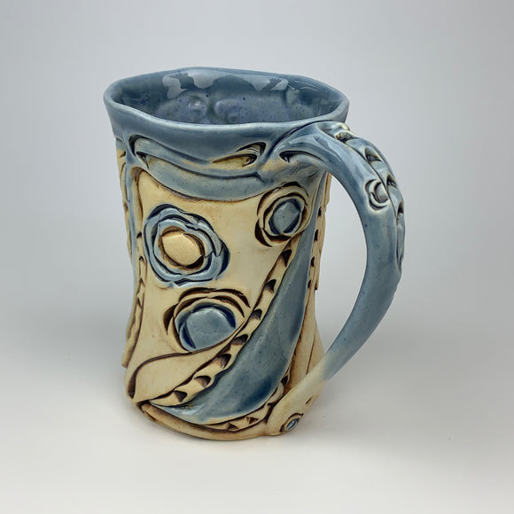 Mug - Floral Pattern Soda Blue with Mahogany Wash (m40bo-11)