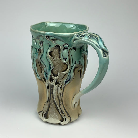 Mug - Winter Tree Pattern Copper Blue - Larger Size (m53z-90)