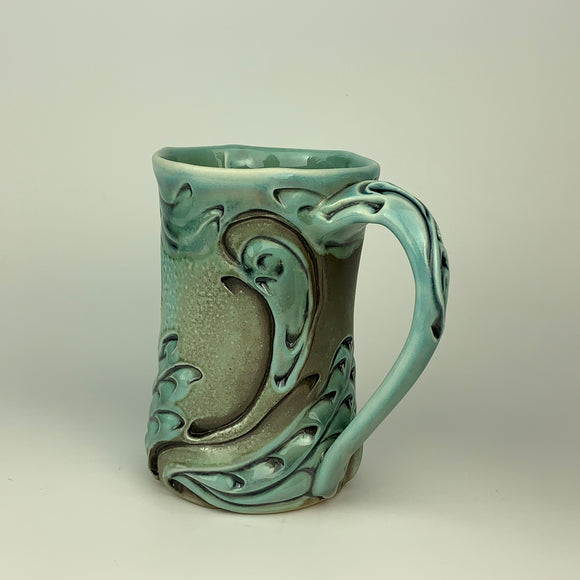 Mug - Swan Pattern Copper Blue (m60z-31)