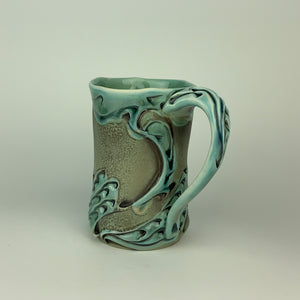 Mug - Swan Pattern Copper Blue (m60z-34)