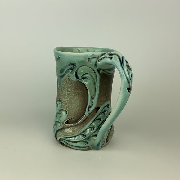Mug - Swan Pattern Copper Blue (m60z-35)